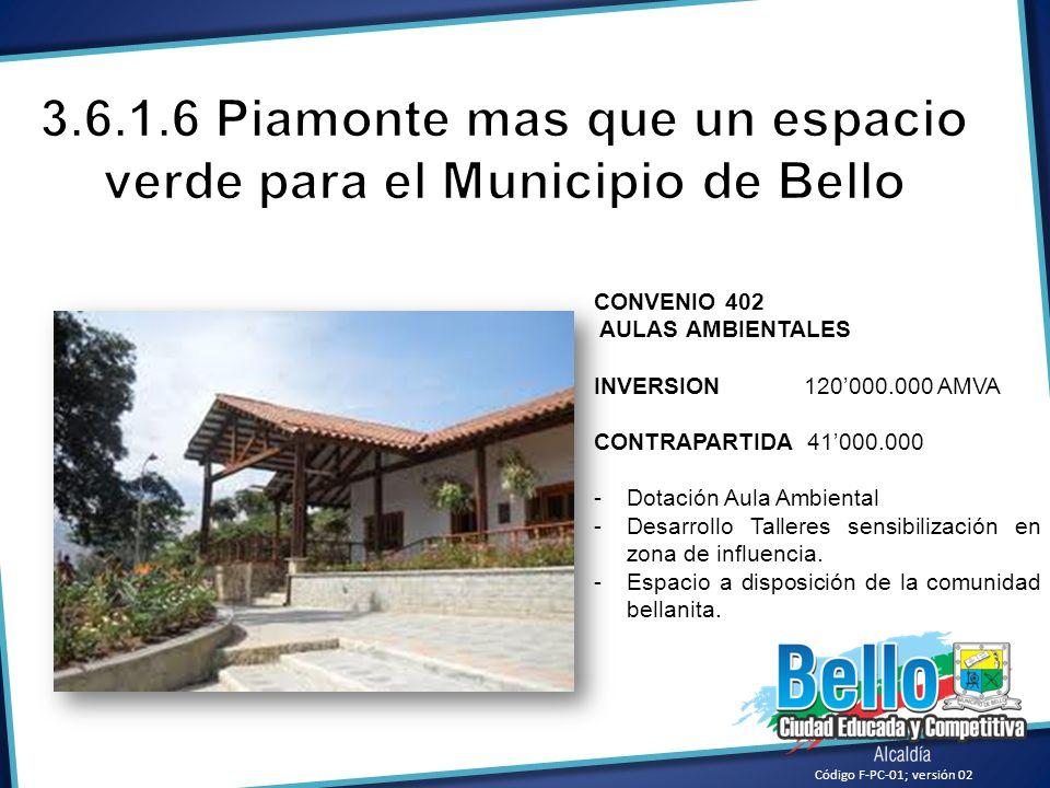 3.6.1.6 Piamonte mas que un espacio verde para el Municipio de Bello