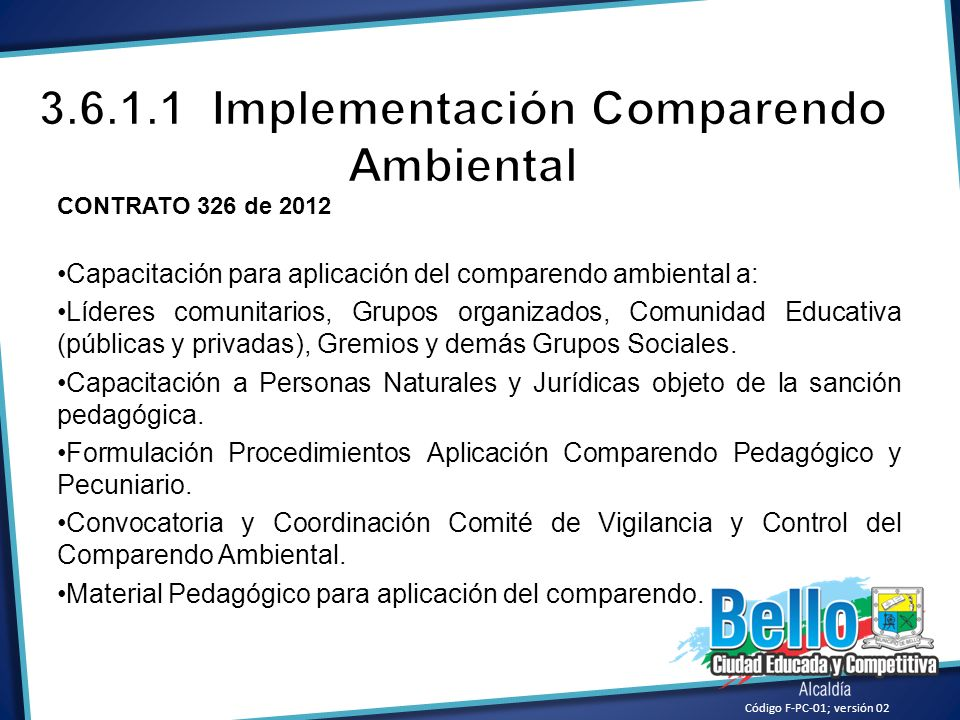 3.6.1.1 Implementación Comparendo Ambiental