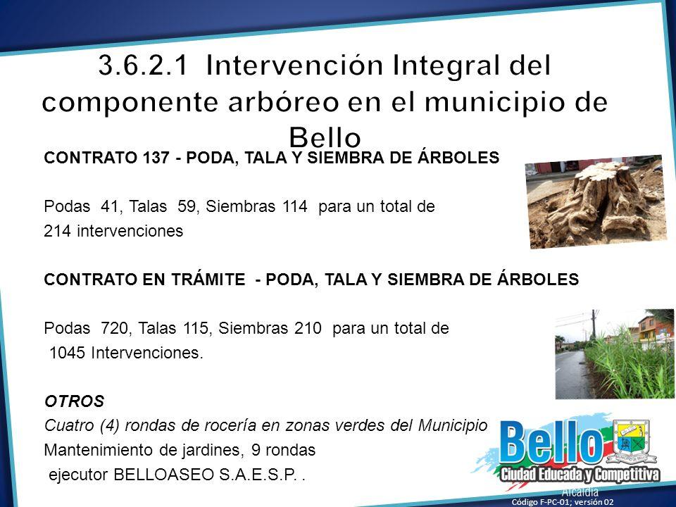 3.6.2.1 Intervención Integral del componente arbóreo en el municipio de Bello