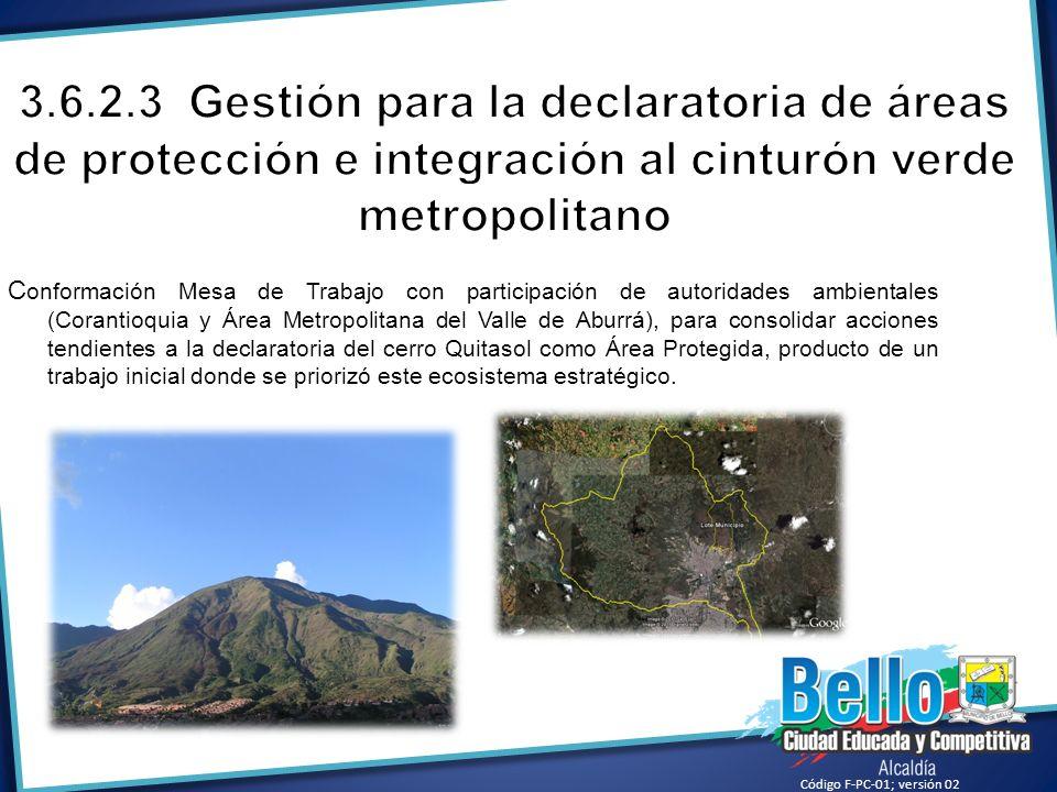 3.6.2.3 Gestión para la declaratoria de áreas de protección e integración al cinturón verde metropolitano