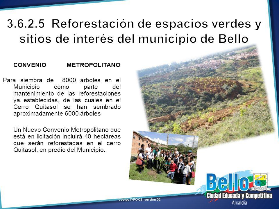 3.6.2.5 Reforestación de espacios verdes y sitios de interés del municipio de Bello