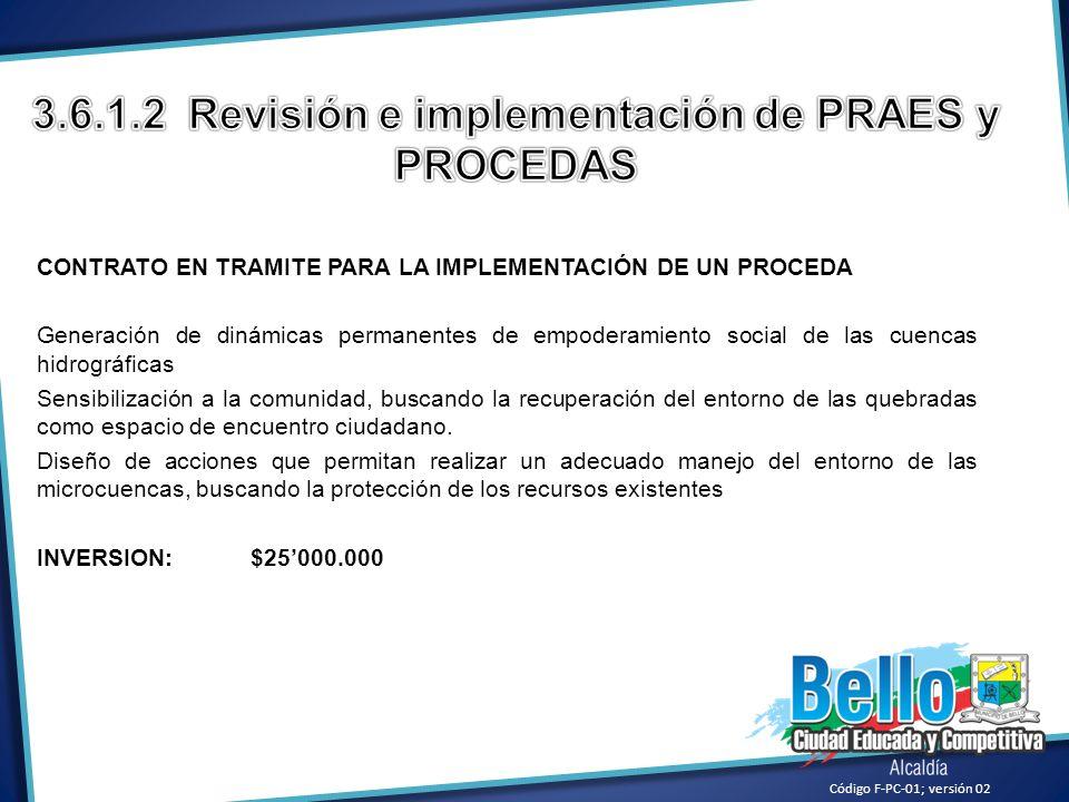 3.6.1.2 Revisión e implementación de PRAES y PROCEDAS