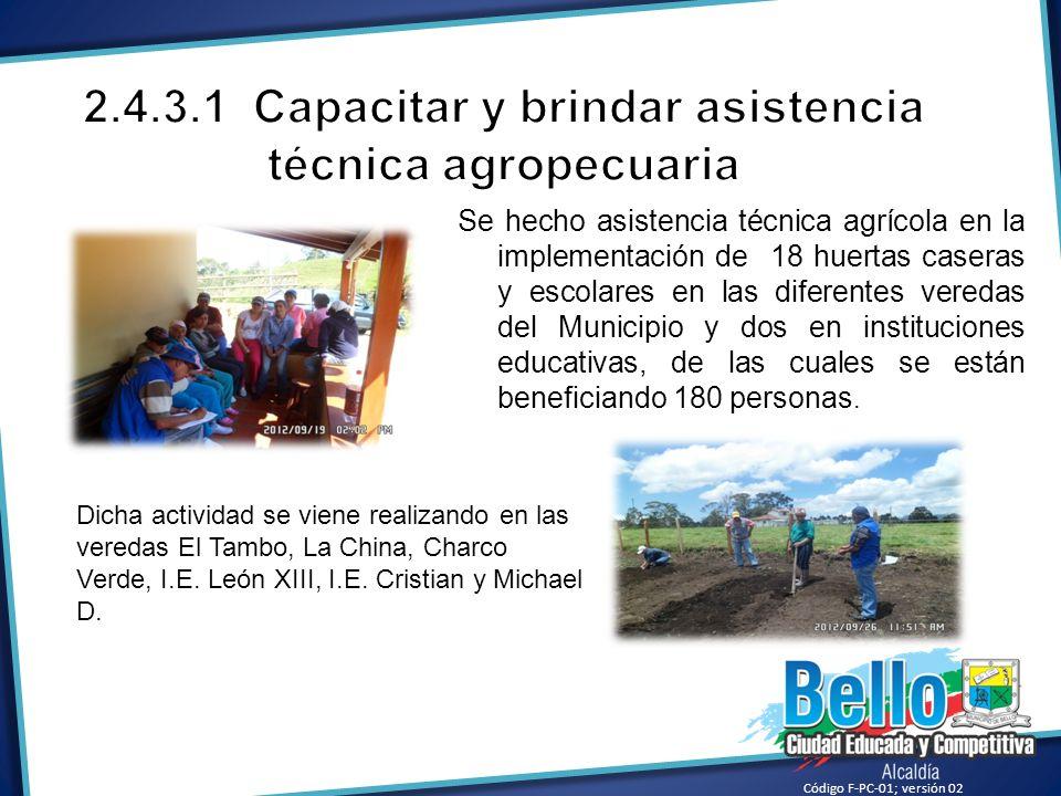 2.4.3.1 Capacitar y brindar asistencia técnica agropecuaria