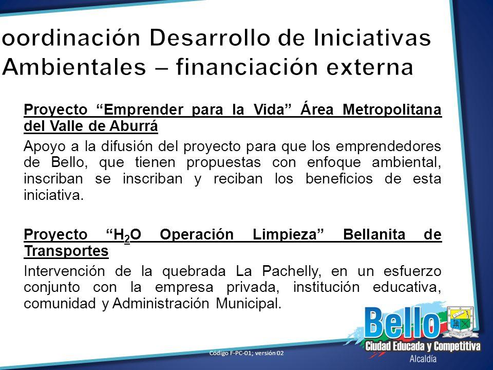 Coordinación Desarrollo de Iniciativas Ambientales – financiación externa