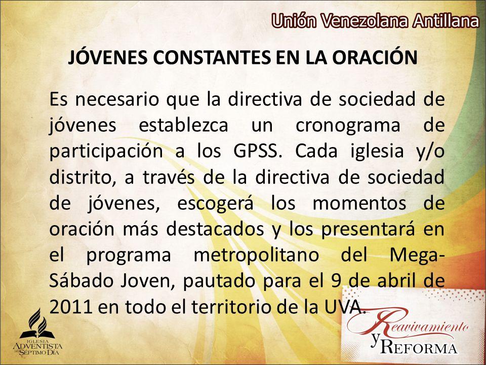 JÓVENES CONSTANTES EN LA ORACIÓN