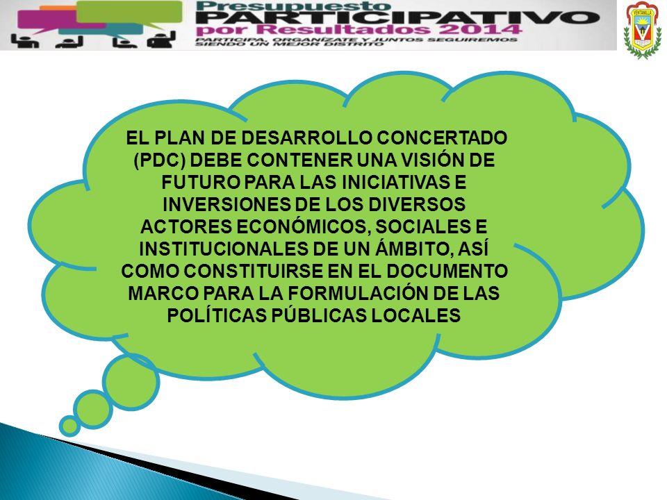 EL PLAN DE DESARROLLO CONCERTADO (PDC) DEBE CONTENER UNA VISIÓN DE FUTURO PARA LAS INICIATIVAS E INVERSIONES DE LOS DIVERSOS ACTORES ECONÓMICOS, SOCIALES E INSTITUCIONALES DE UN ÁMBITO, ASÍ COMO CONSTITUIRSE EN EL DOCUMENTO MARCO PARA LA FORMULACIÓN DE LAS POLÍTICAS PÚBLICAS LOCALES