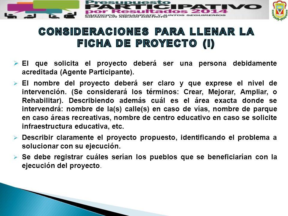 CONSIDERACIONES PARA LLENAR LA FICHA DE PROYECTO (I)