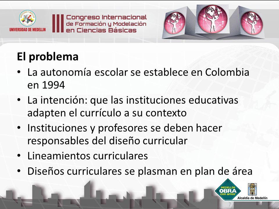 El problema La autonomía escolar se establece en Colombia en 1994