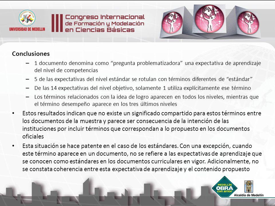 Conclusiones 1 documento denomina como pregunta problematizadora una expectativa de aprendizaje del nivel de competencias.