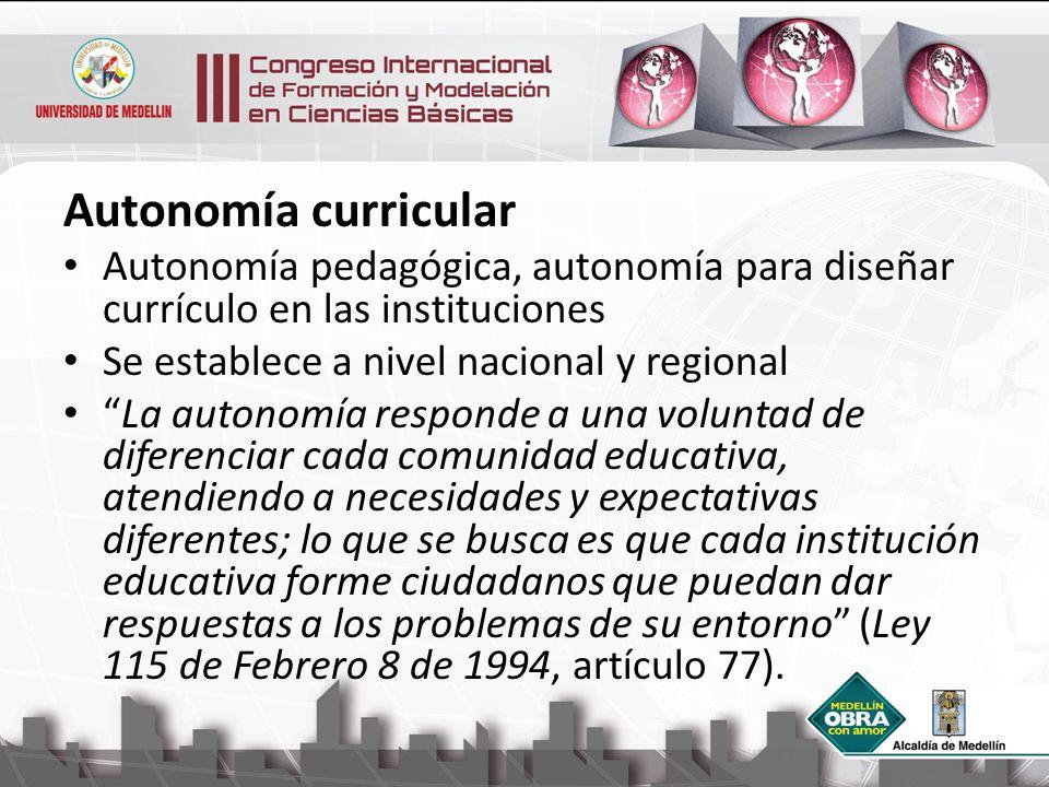 Autonomía curricular Autonomía pedagógica, autonomía para diseñar currículo en las instituciones. Se establece a nivel nacional y regional.