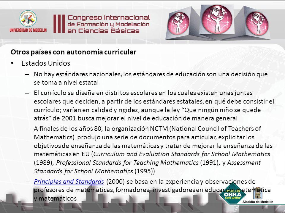 Otros países con autonomía curricular Estados Unidos