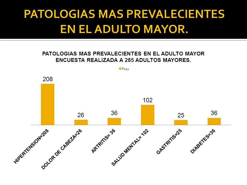 PATOLOGIAS MAS PREVALECIENTES EN EL ADULTO MAYOR.