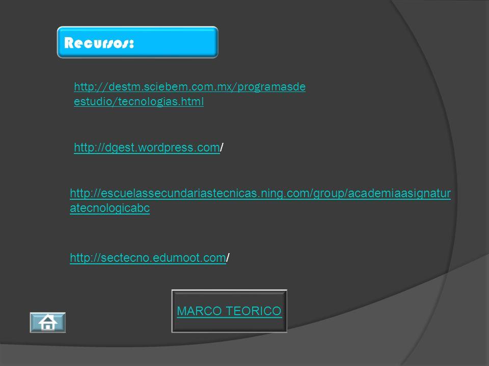 Recursos: http://destm.sciebem.com.mx/programasdeestudio/tecnologias.html. http://dgest.wordpress.com/