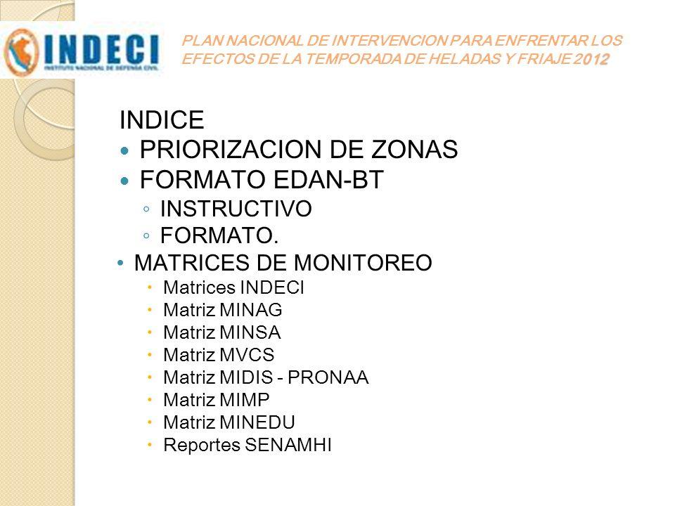 INDICE PRIORIZACION DE ZONAS FORMATO EDAN-BT INSTRUCTIVO FORMATO.