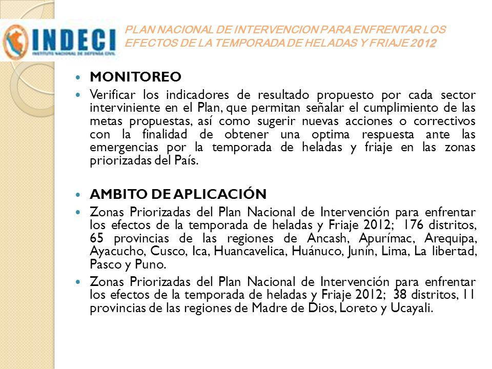 PLAN NACIONAL DE INTERVENCION PARA ENFRENTAR LOS EFECTOS DE LA TEMPORADA DE HELADAS Y FRIAJE 2012