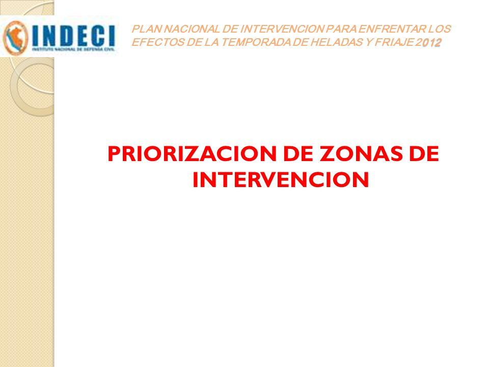PRIORIZACION DE ZONAS DE INTERVENCION