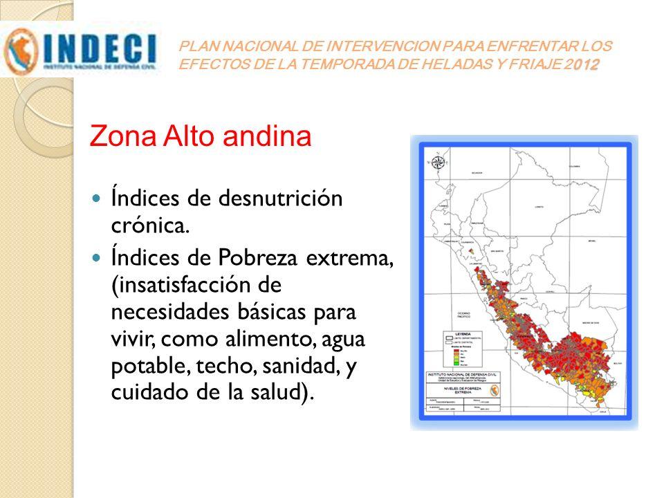 Zona Alto andina Índices de desnutrición crónica.