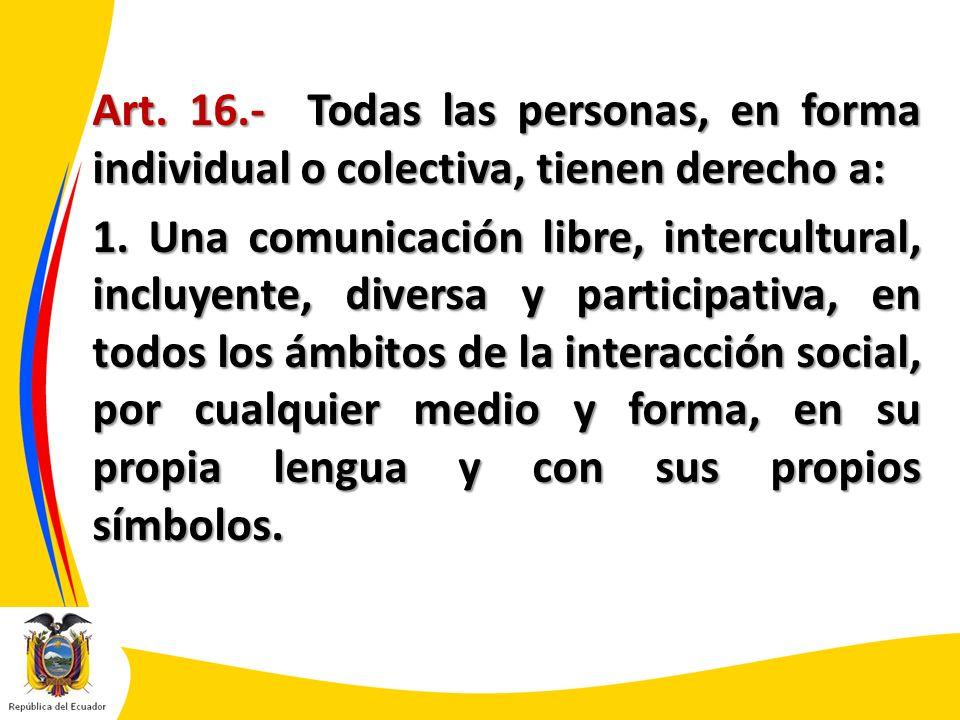 Art. 16.- Todas las personas, en forma individual o colectiva, tienen derecho a: 1.