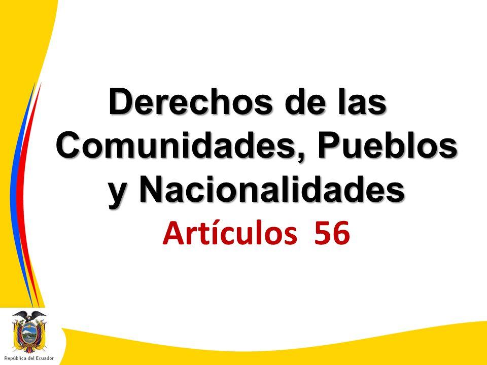 Derechos de las Comunidades, Pueblos y Nacionalidades Artículos 56