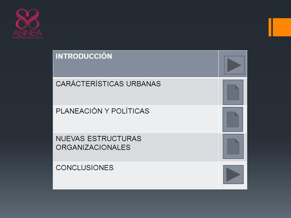 INTRODUCCIÓN CARÁCTERÍSTICAS URBANAS. PLANEACIÓN Y POLÍTICAS. NUEVAS ESTRUCTURAS ORGANIZACIONALES.