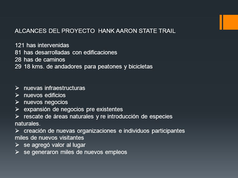 ALCANCES DEL PROYECTO HANK AARON STATE TRAIL