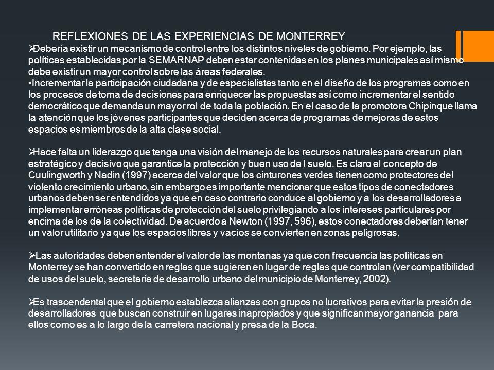 REFLEXIONES DE LAS EXPERIENCIAS DE MONTERREY
