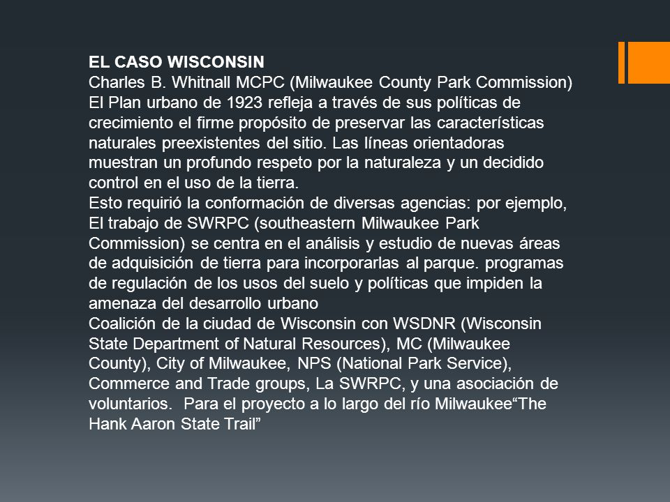 EL CASO WISCONSIN Charles B. Whitnall MCPC (Milwaukee County Park Commission)