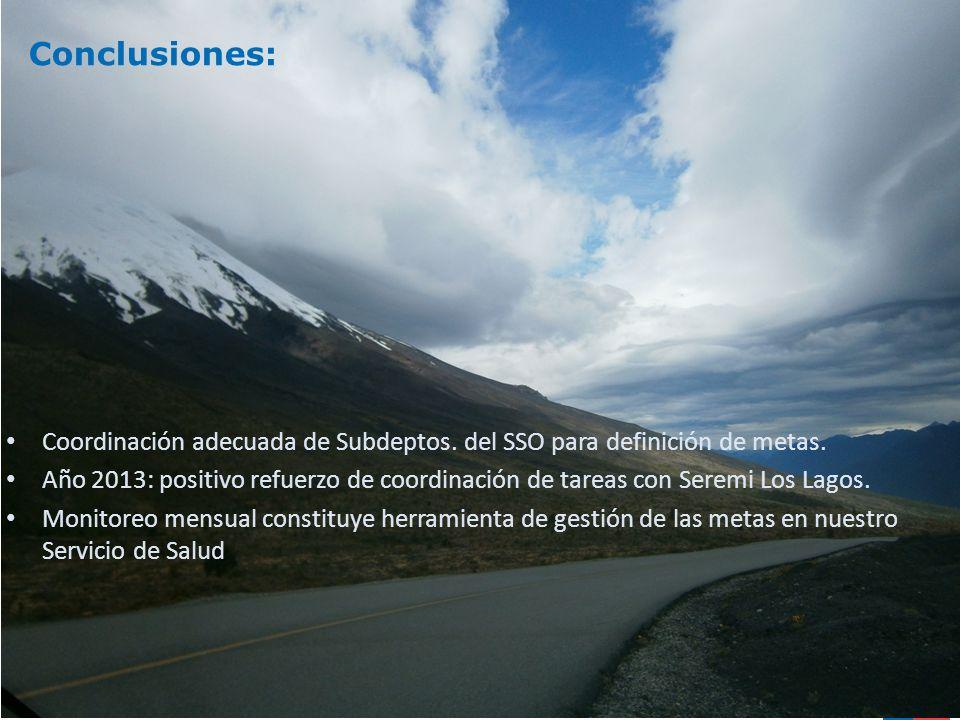 Conclusiones: Coordinación adecuada de Subdeptos. del SSO para definición de metas.