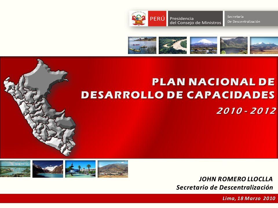 PLAN NACIONAL DE DESARROLLO DE CAPACIDADES