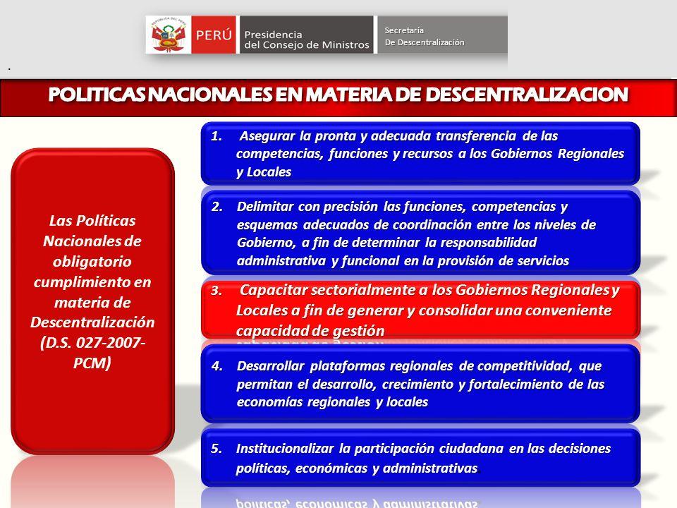 POLITICAS NACIONALES EN MATERIA DE DESCENTRALIZACION