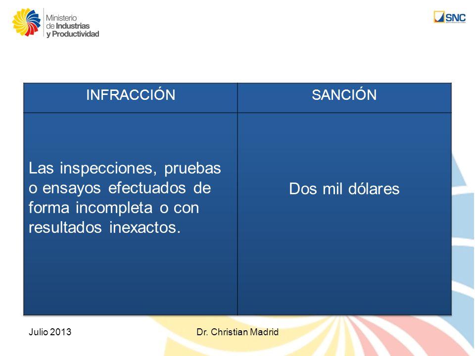 INFRACCIÓN SANCIÓN. Las inspecciones, pruebas o ensayos efectuados de forma incompleta o con resultados inexactos.