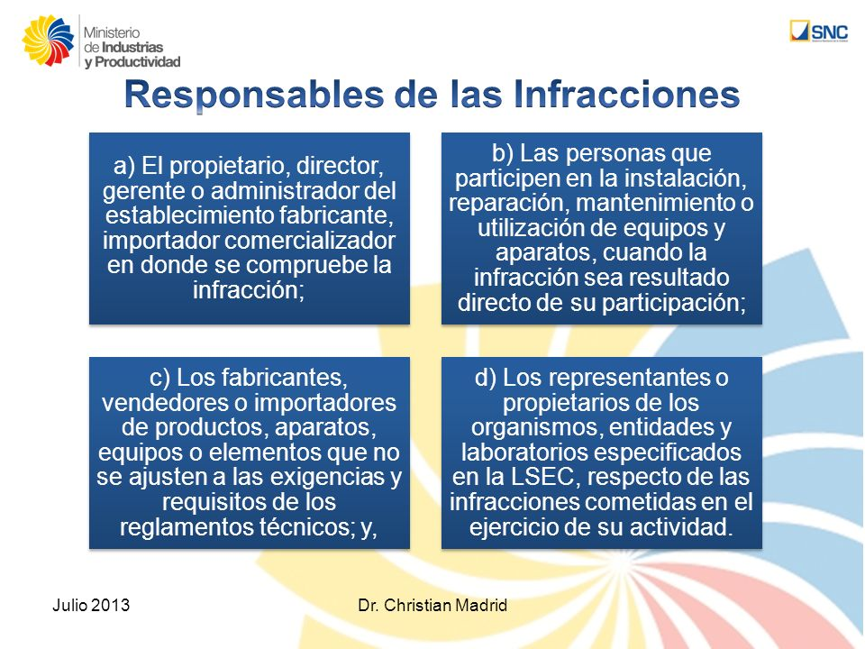 Responsables de las Infracciones
