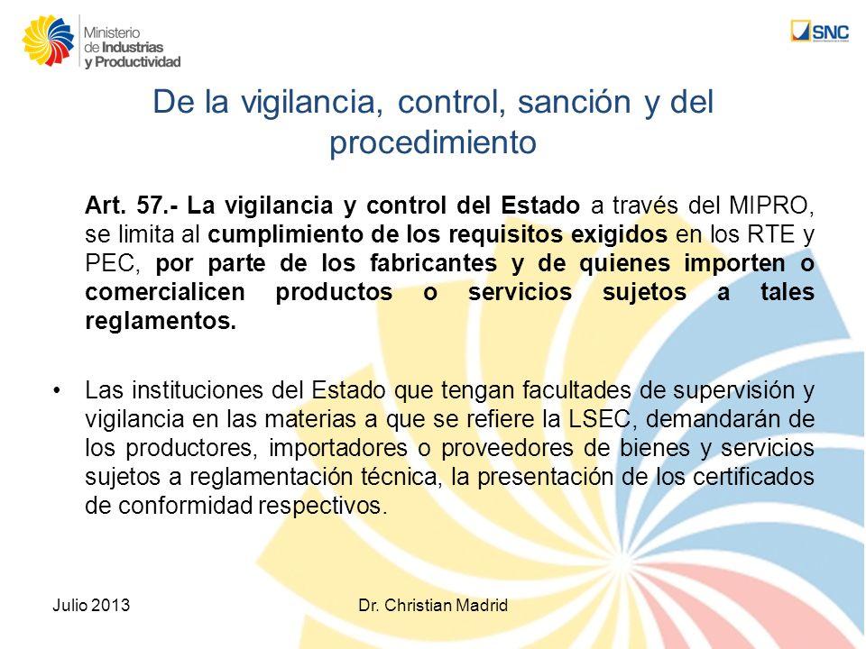 De la vigilancia, control, sanción y del procedimiento