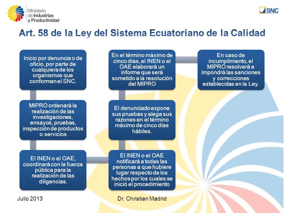 Art. 58 de la Ley del Sistema Ecuatoriano de la Calidad