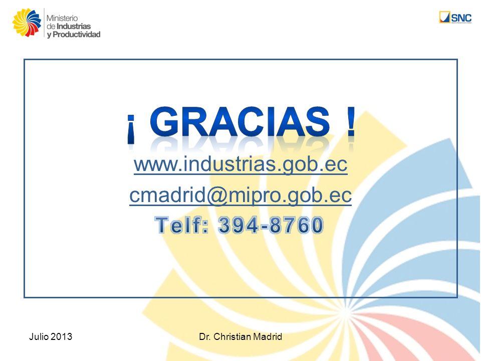 ¡ GRACIAS ! www.industrias.gob.ec cmadrid@mipro.gob.ec Telf: 394-8760