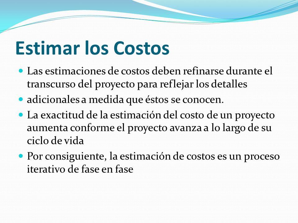 Estimar los Costos Las estimaciones de costos deben refinarse durante el transcurso del proyecto para reflejar los detalles.