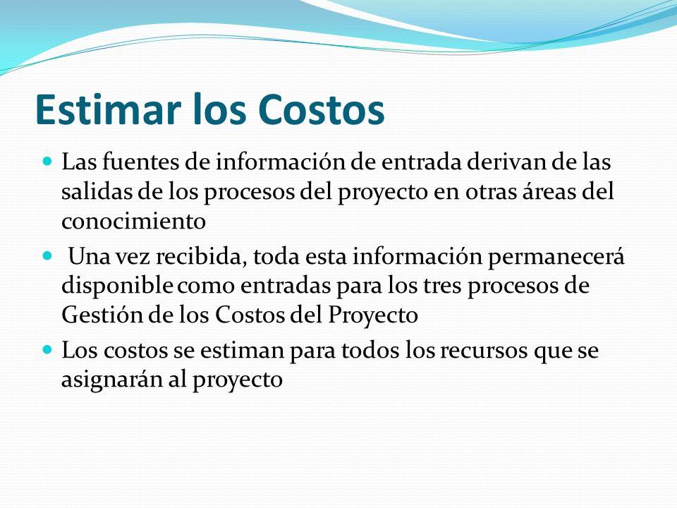 Estimar los Costos Las fuentes de información de entrada derivan de las salidas de los procesos del proyecto en otras áreas del conocimiento.