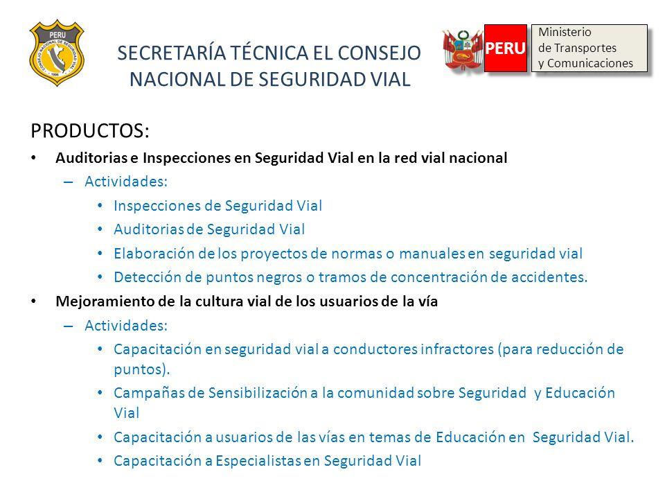 SECRETARÍA TÉCNICA EL CONSEJO NACIONAL DE SEGURIDAD VIAL