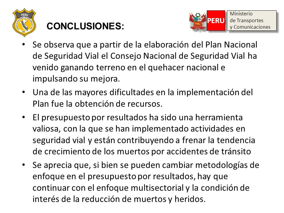 CONCLUSIONES:Ministerio. de Transportes. y Comunicaciones. PERU.