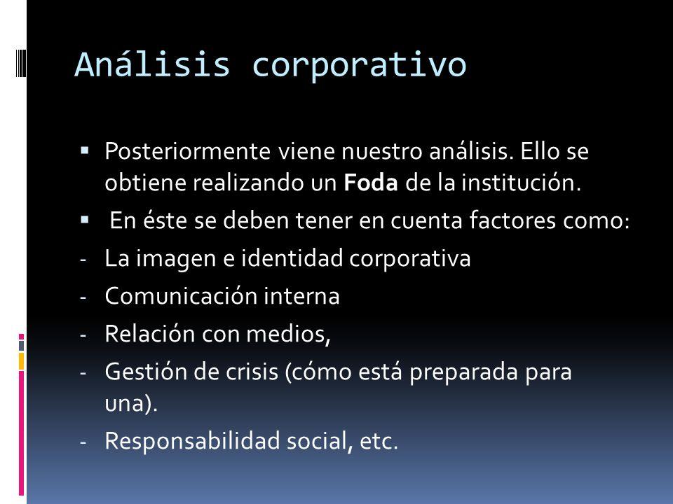 Análisis corporativo Posteriormente viene nuestro análisis. Ello se obtiene realizando un Foda de la institución.