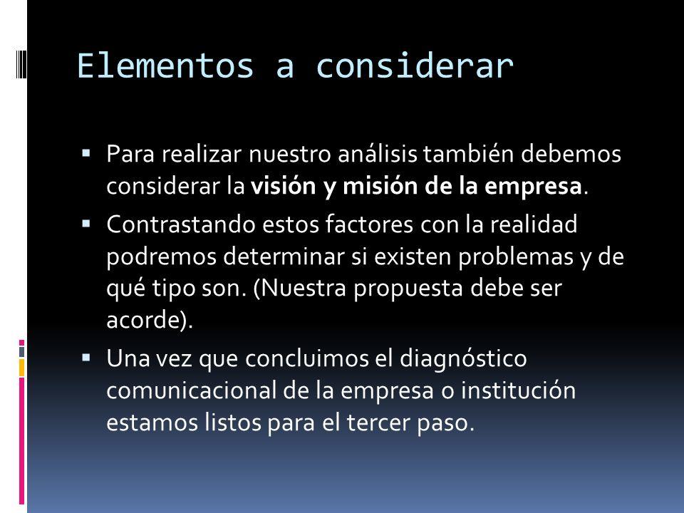 Elementos a considerar