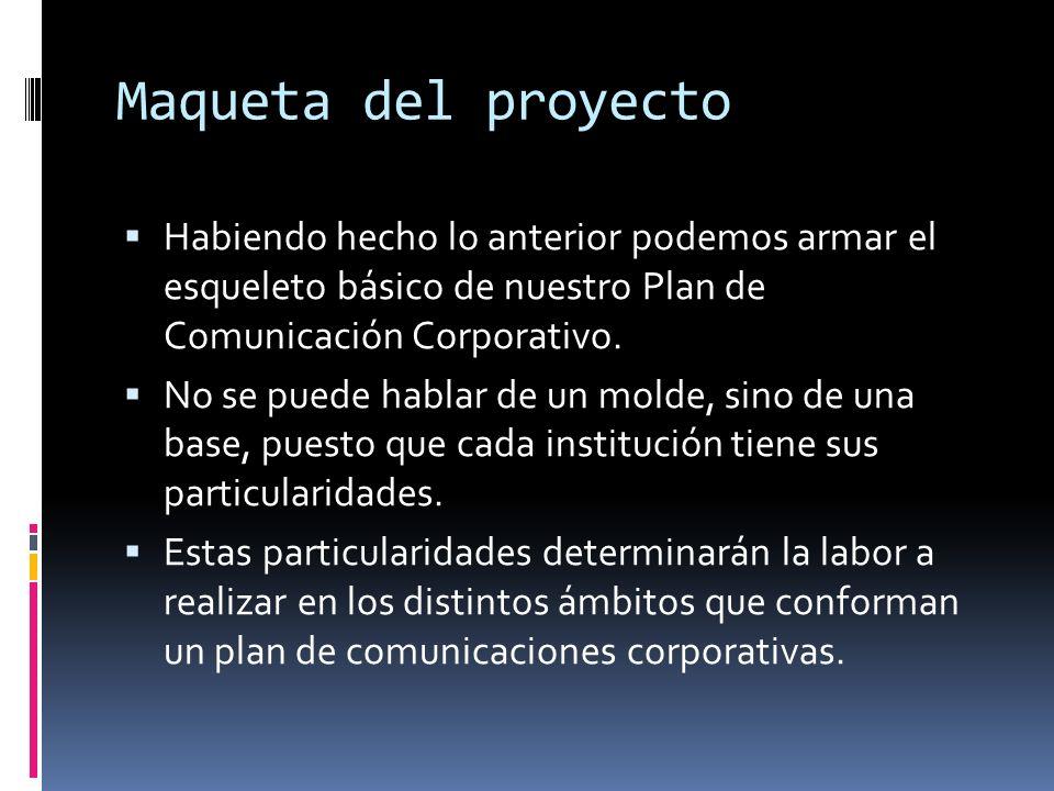 Maqueta del proyecto Habiendo hecho lo anterior podemos armar el esqueleto básico de nuestro Plan de Comunicación Corporativo.