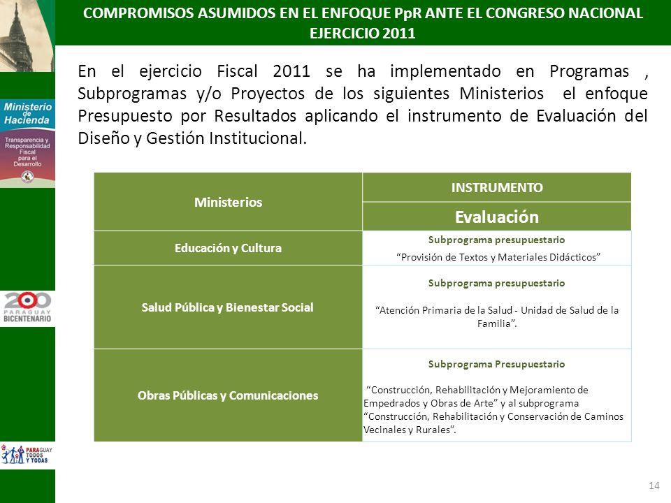 COMPROMISOS ASUMIDOS EN EL ENFOQUE PpR ANTE EL CONGRESO NACIONAL