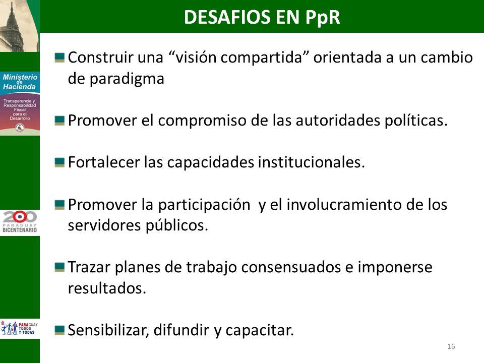DESAFIOS EN PpR Construir una visión compartida orientada a un cambio de paradigma. Promover el compromiso de las autoridades políticas.