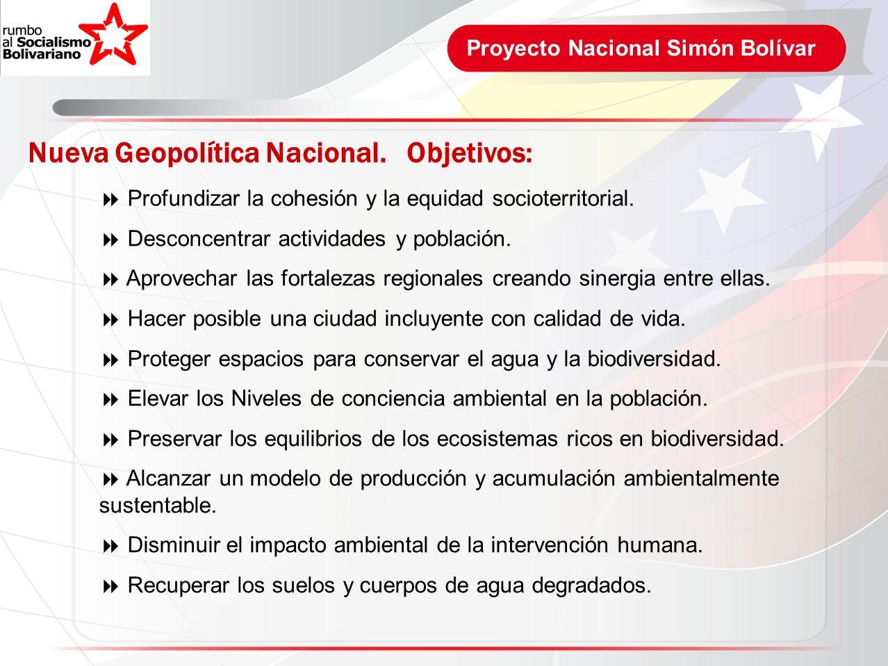 Nueva Geopolítica Nacional. Objetivos:
