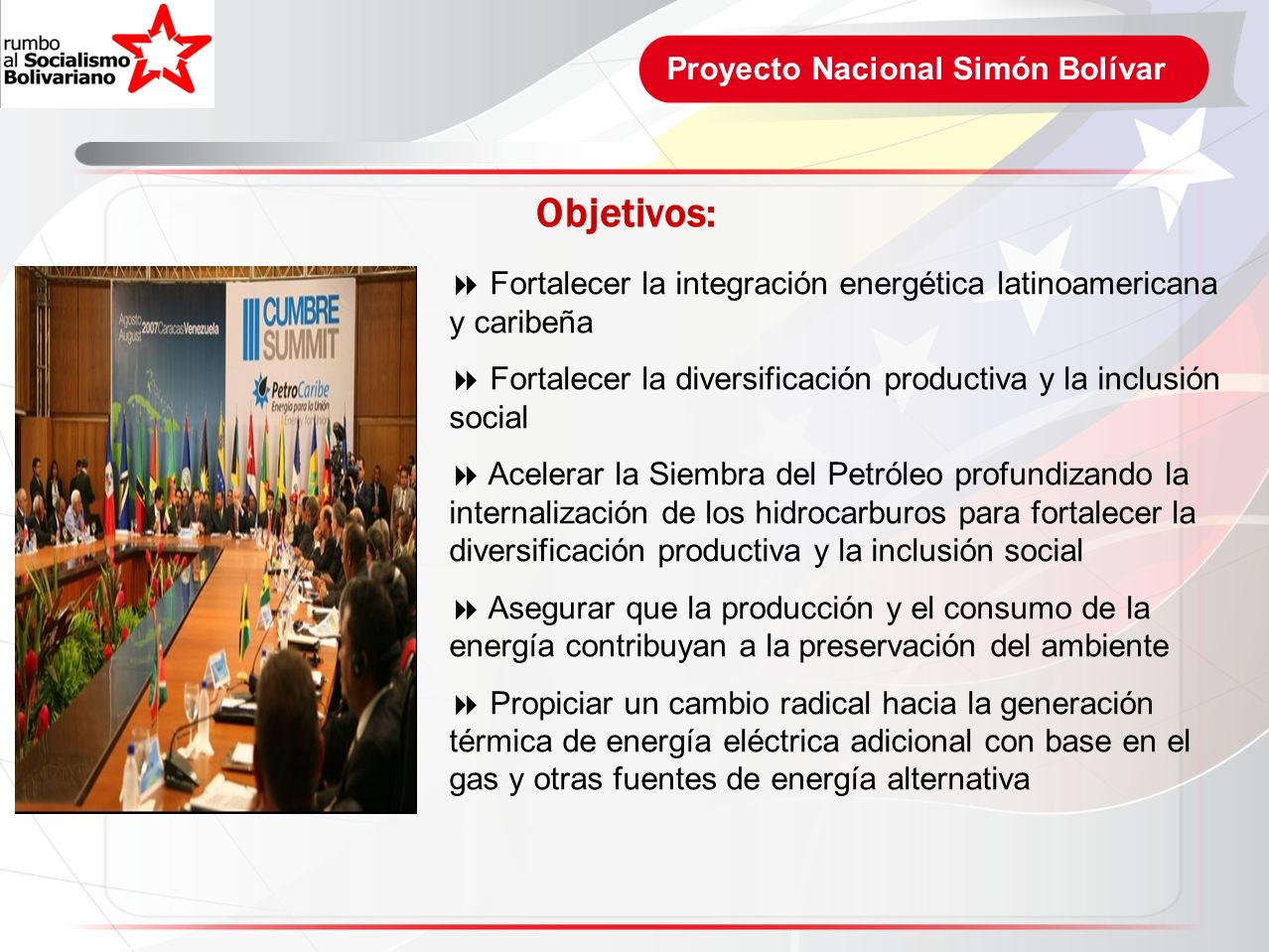 Objetivos: Proyecto Nacional Simón Bolívar