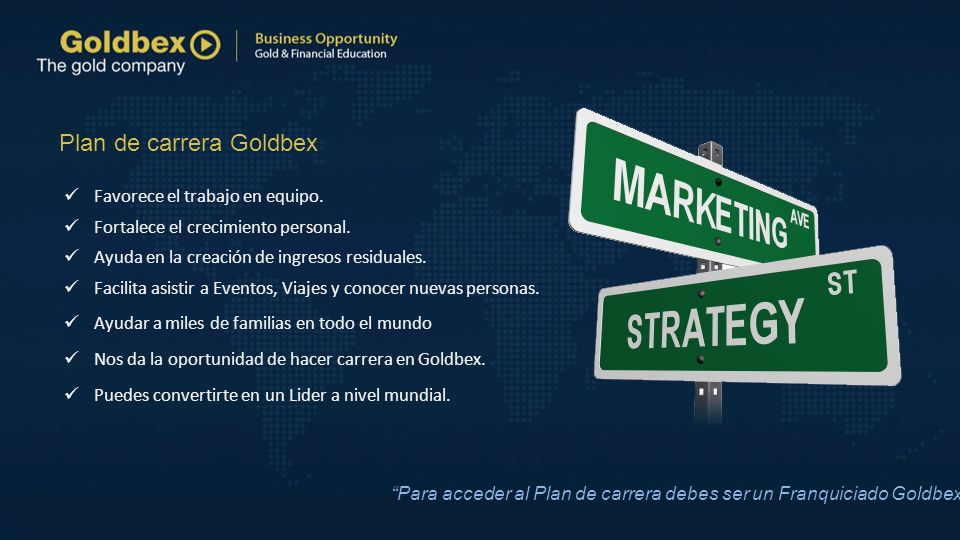 Plan de carrera Goldbex