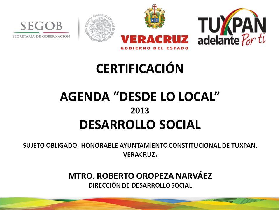 CERTIFICACIÓN AGENDA DESDE LO LOCAL DESARROLLO SOCIAL