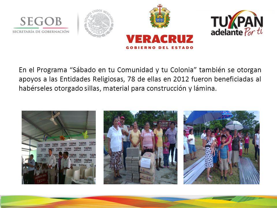 En el Programa Sábado en tu Comunidad y tu Colonia también se otorgan apoyos a las Entidades Religiosas, 78 de ellas en 2012 fueron beneficiadas al habérseles otorgado sillas, material para construcción y lámina.