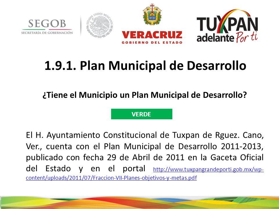 1.9.1. Plan Municipal de Desarrollo